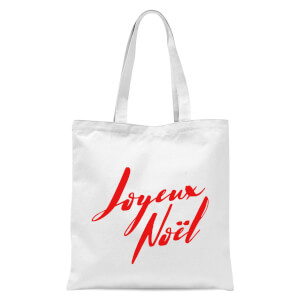 Joyeux Noel Holly Jolly International Tote Bag - White