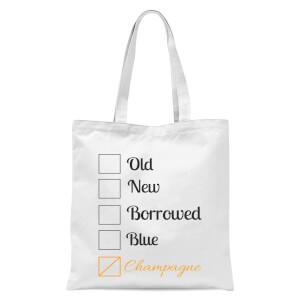 Champagne Tick Box Tote Bag - White