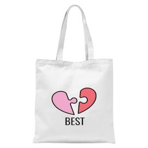 Jigsaw Heart Tote Bag - White