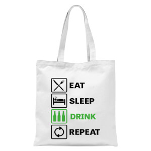 Eat Sleep Game Repeat Tote Bag - White