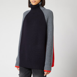 Victoria, Victoria Beckham Women's Oversize Turtleneck Jumper - Charcoal/Sunset/Midnight