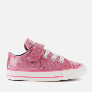 Converse Toddlers' Chuck Taylor All Star 1V Galaxy Glimmer Ox Trainers - Mod Pink/Obsidian/White