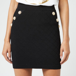 Balmain Women's Short Diamond Skirt - Black
