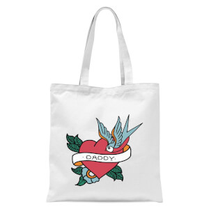 Daddy Heart Tote Bag - White