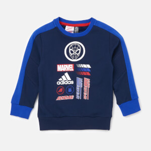 adidas Boys' Little Boys Spider-Man Crew Neck Sweatshirt - Blue
