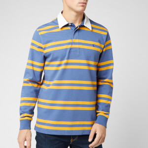 Joules Men's Onside Rugby Top - Blue Bright Yellow Stripe