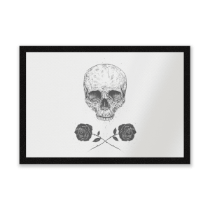 Skull And Roses Entrance Mat