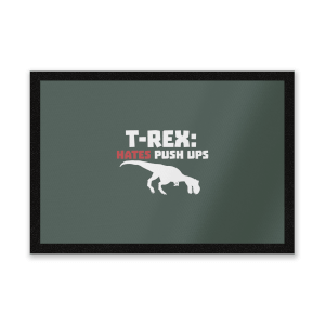 T-Rex Hates Pushups (white) Entrance Mat