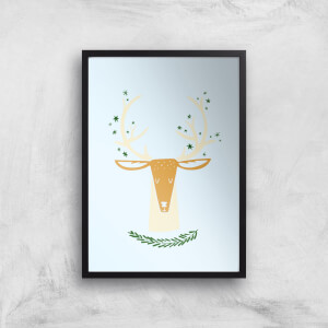 Christmas Reindeer Head Art Print