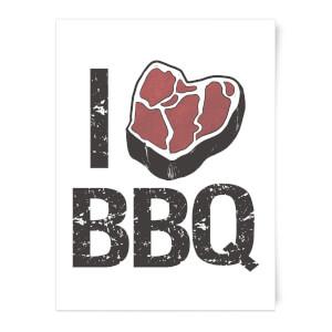 I Love BBQ Art Print