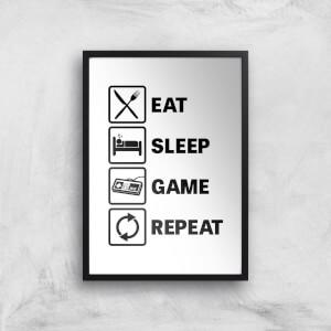 Eat Sleep Game Repeat Art Print