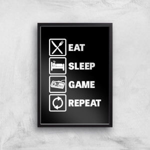 Eat Sleep Game Repeat Art Print