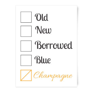 Champagne Tick Box Art Print