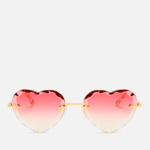 Chloé Women's Rosie Heart Shape Sunglasses - Gold/Gradient Coral