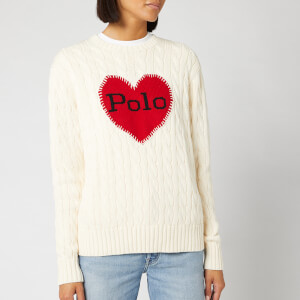 Polo Ralph Lauren Women's Heart Long Sleeve Jumper - Cream/Red