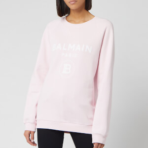 Balmain Women's Flocked Logo Sweatshirt - Rose