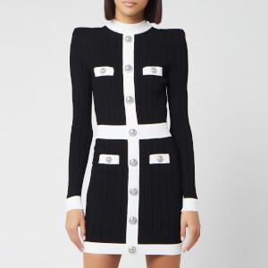 Balmain Women's Short Buttoned Ribbed Knit Dress - Black/White