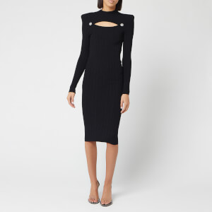 Balmain Women's Cutout Knit Midi Dress - Black