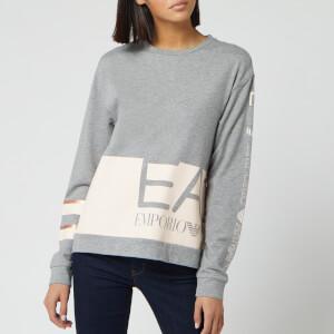 Emporio Armani EA7 Women's Colour Block Crew Neck Sweatshirt - Grey/Pink