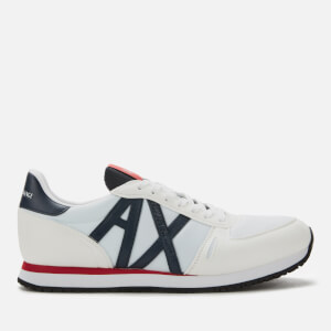 Armani Exchange Men's Nylon Running Style Trainers - White/Navy