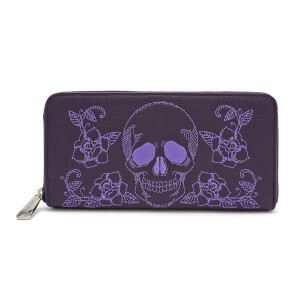 Loungefly Skull and Roses Zip Around Wallet