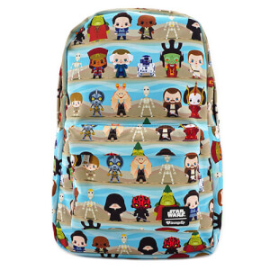 Loungefly Star Wars The Phantom Menace Chibi Characters Nylon Backpack