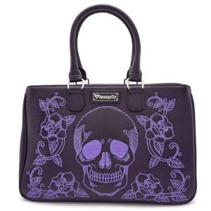 Loungefly Skull and Roses Double Handle Bag
