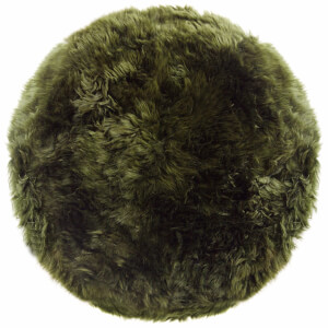 Royal Dream 100% Round Sheepskin Rug - Olive