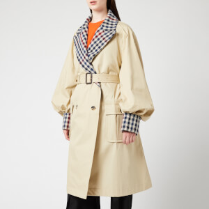 JW Anderson Women's Trench Coat With Check Contrast - Flax