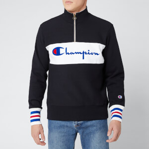 Champion Men's Big Script Half Zip Sweatshirt - Black