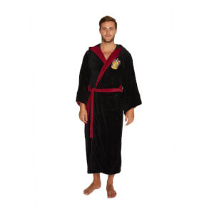 Harry Potter Gryffindor Fleece Bathrobe with Oversized Hood and Sleeves