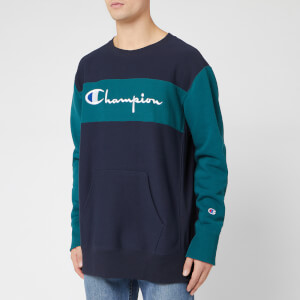 Champion Men's Color Block Crew Sweatshirt - Navy