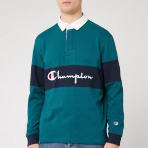 Champion Men's Big Script Long Sleeve Polo Shirt - Green