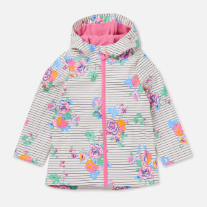 Joules Girls' Raindance Showerproof Rubber Coat - Cream Navy Floral