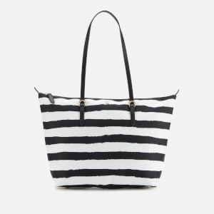 Lauren Ralph Lauren Women's Keaton 26 Nylon Tote Bag - Black/White Painted Stripe