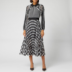 Self-Portrait Women's Gingham Printed Chiffon Midi Dress - Black/Ivory