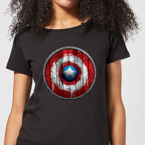 Marvel Captain America Wooden Shield Women's T-Shirt - Black