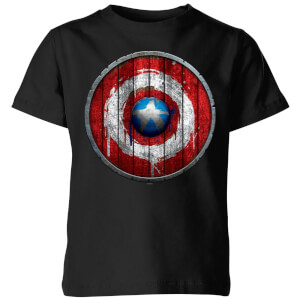 T-Shirt Marvel Captain America Wooden Shield - Nero - Bambini