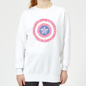 Marvel Captain America Flower Shield Women's Sweatshirt - White