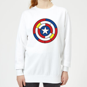 Marvel  Captain America Stained Glass Shield Women's Sweatshirt - White