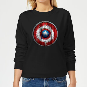 Marvel Captain America Wooden Shield Women's Sweatshirt - Black