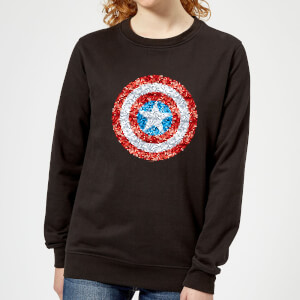 Marvel Captain America Pixelated Shield Women's Sweatshirt - Black