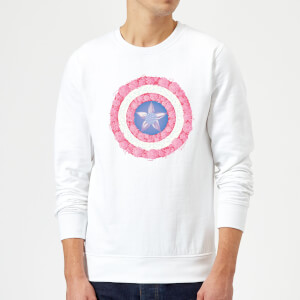 Marvel Captain America Flower Shield Sweatshirt - White