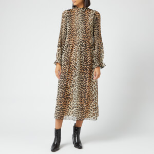 Ganni Women's Pleated Georgette Dress - Leopard