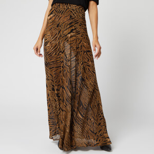Ganni Women's Printed Georgette Skirt - Tiger