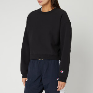 Champion Women's Sleeve Logo Crew Neck Sweatshirt - Black