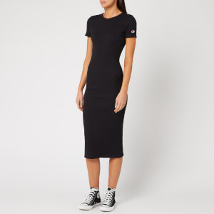 Champion Women's Ribbed Short Sleeve T-Shirt Dress - Black