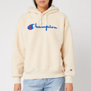 Champion Women's Shearling Big Script Hooded Sweatshirt - Cream
