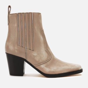 Ganni Women's Leather Western Heeled Boots - Tapioca