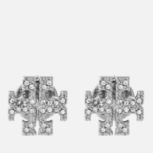 Tory Burch Women's Crystal Logo Stud Earrings - Silver/Crystal